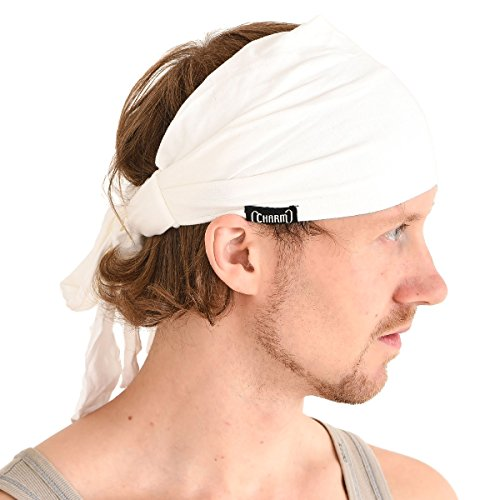 CHARM Men Hippie Japanese Headband - Women Hair Band Boho Bohemian Head Wrap Pirate Bandana -