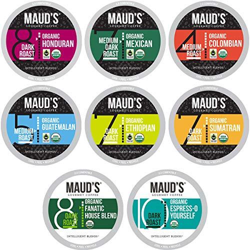 Maud's Organic Coffee Variety Pack, 56ct. Solar Energy Produced Recyclable Single Serve Fair Trade Single Origin Organic…