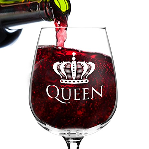 Queen Funny Novelty Wine Glass - 12.75 oz. - Humorous Gift or Present for Mom, Women, Friends, or Her - Bridal Shower, Engagement or Wedding Favor - Made in USA