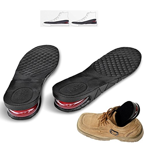 e8fc6588d59fb Flexzion Unisex Increase Insole 2 Layer Height Shoes Heel Full Insert Lift  Elevator Air Cushion Pad 5cm (Approximately 2 inches) Taller for Adult Men  ...