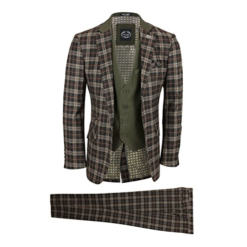 - XPOSED Mens 3 Piece Suit Vintage Tweed Check Tonal Brown Tailored Fit Contrasting Olive Waistcoat & Lapel [Chest UK 50 EU 60,Trouser 44