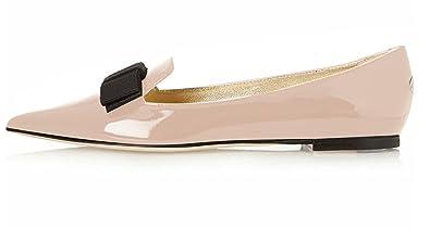 96a4ba0203d7 Eldof Women's Ballet Flat Pointy Toe Patent Ballerina Slip on Dress Shoes  Beige US5