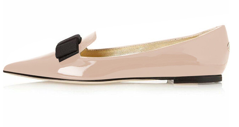 Eldof Women's Flats, Pointed Toe Flats Pumps, Patent Leather Flats Pumps, Walking Dress Office Classic Comfortable Flats B07DHLGTX3 12 B(M) US|Beige