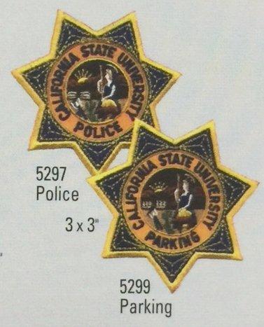 CALIFORNIA STATE UNIVERSITY POLICE - CSU Police Officer 7 Pointed Star Chest Patch 3 x 3
