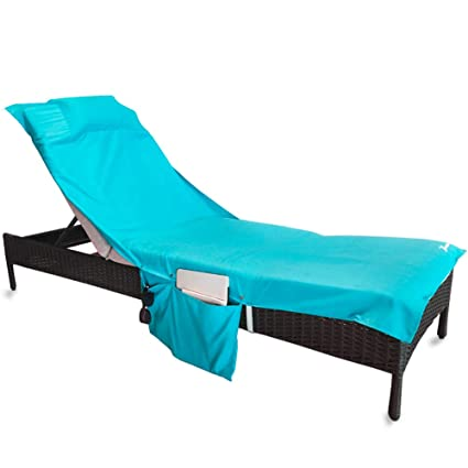 YOULERBU Beach Chair Cover Pillow,Pool Lounge Chair Towel Beach Towel  Convenient Storage Pockets,