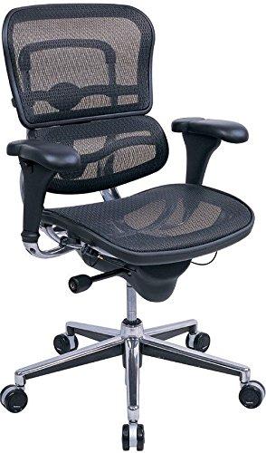 Eurotech Seating Ergohuman ME8ERGLO(N) Mid Back Mesh Swivel Chair, Black