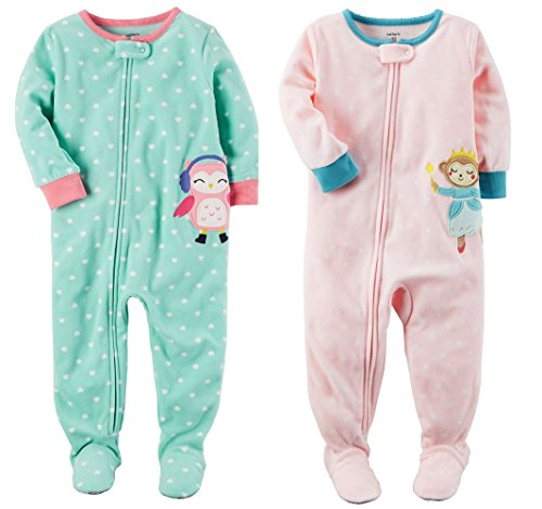 Carter's Baby Toddler Girl's 2 Pack Fleece Footed Pajama Sleep and Play Set (Zipper Closure - Aqua Heart Penguin and Pink Princess Monkey, 12 - Monkey Fleece