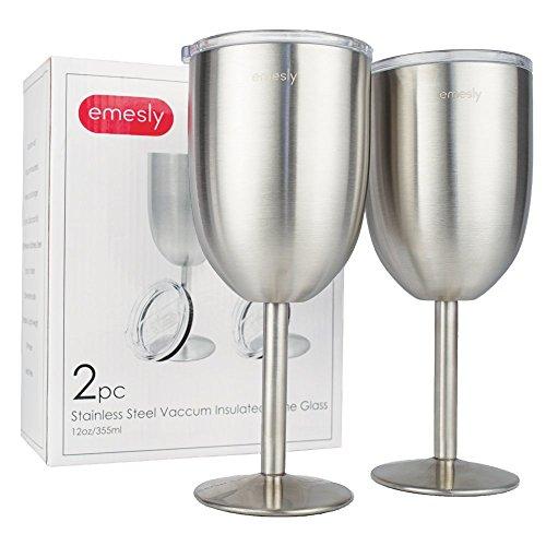 Stainless Steel Wine Glasses Double-Walled Insulated (Set of 2) Unbreakable Premium Food Grade 18/8 Stainless Steel Elegant Stemmed Wine Goblets BPA Free Leak Resistant Lids for Red White Wine, 12 Oz. Stemmed Wine Goblet