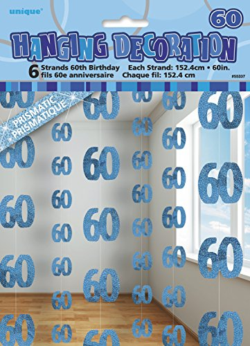 (blue, Age 60) - 1.5m Hanging Glitz Blue 60th Birthday Decorations, Pack Of 6]()