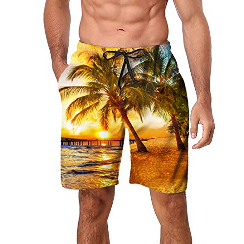 (Enlifety Male Cool Tropical Hawaii Beachwear 90s Youth Medium Length Surf Trunks 3D Coconut Tree Printed Sports Shorts Plus Size Fast Dry Swimsuit with Mesh and Pocekts XL)