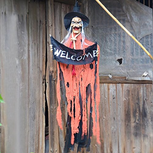 AZOWA 51'' Animated Cool Scary Hanging Grim Reaper Skull Witch With 'Welcome' Greeting Ghost for Best Halloween Yard Decorations Prop (Orange, 51'' X (Sale Halloween Decorations Uk)