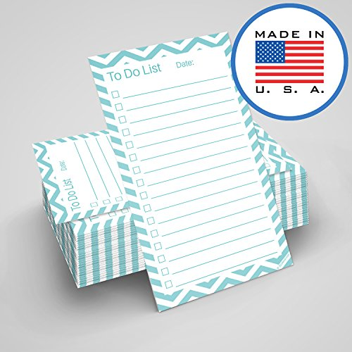 321Done to Do List Cards 3 x 5 (Set of 100 Vertical Index Cards) Double-Sided Notecards with Date to-Do Checklist - Thick Card Stock - Made in The USA, Chevron Teal