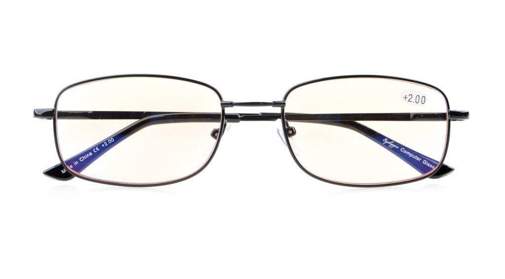 Anti Blue Rays,Reduce Eyestrain,UV Protection,Memory Bridge,Titanium,Computer Reading Gaming Glasses Unisex(Black,Amber Tinted Lenses) +1.0