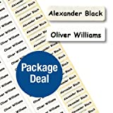 Name Tape PACKAGE DEAL - Iron-on Nametapes & Peel & Stick Property Labels (100 Iron-on & 100 Peel&Stick)