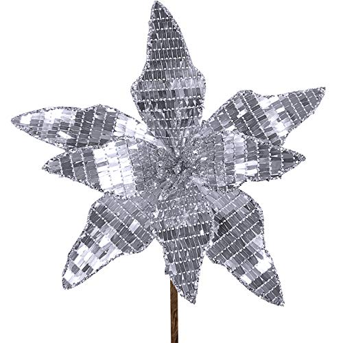 6 Pcs Christmas Silver Sparkling Mirrored Plates Fabric Artificial Poinsettia Flower Picks Christmas Tree Ornaments 10.2…