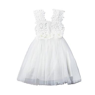 Vestito Da Principessa Senza Maniche In Tulle Pizzo Principessa Vestito  Mini Abito Vestito Estivo Per Bambini  Amazon.it  Abbigliamento 528efd4a002
