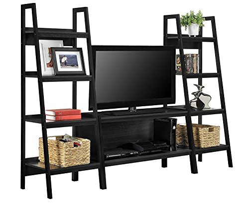 TV Stand + Bookcase Entertainment Console Rack Rear for up to 45