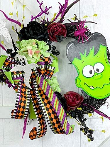Halloween wreath, Frankenstein wreath, wreath for front door,]()