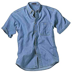 Men's Short Sleeve Denim and Twill Shirt Casual Shirt
