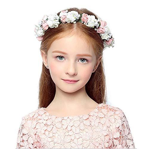Girls Flower Blush Pink Headbands Wrist Brand Crown Princess Birthday Wedding Bridal Hair Wreath Floral Headband (Pink)
