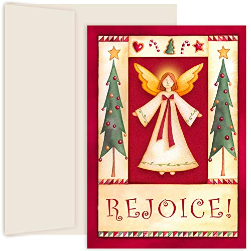 (Masterpiece Hollyville 18-Count Christmas Cards in Keepsake Box, Folk Angel)