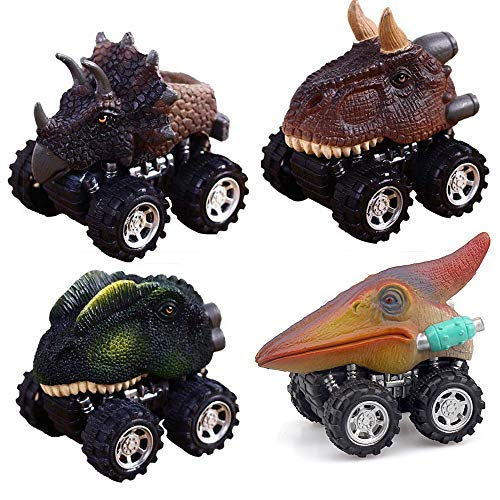 ZHFUYS Dinosaur Toys, Pull Back Dino Cars with Big Tire for 2 to 5 Year Old Boys Girls Gifts 4 Pack Toy Cars (Dinosaur)