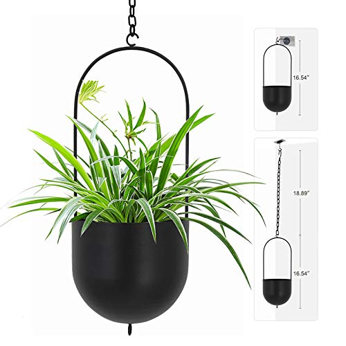 Black Metal Plant Hanger Metal Wall and Ceiling Hanging Planter Modern Planter Mid Century Flower Pot Plant Holder(D=6.29'')