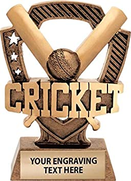 """Crown Awards 5"""" Shieldz Cricket Sculpture Trophy, Custom Resin Cricket Trophies with Personalized Engraving Prime"""