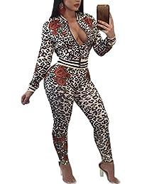 Women's Floral Print 2 Pieces Outfit Long Sleeve Blazer+Pants Set Rompers … …