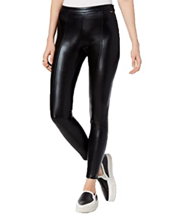 0b4a5dc2db56 Amazon.com: Armani Exchange Faux-Leather Leggings (Black, 12): Clothing