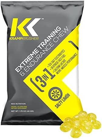 Kramp Krusher: Vegan Energy Chews with Potassium Electrolytes | Caffeine Free Pre Workout Gummies for Leg Cramps, Sports, Running, and Fitness Training | On-The-Go Endurance Enhancers (Lemon12 Pack)