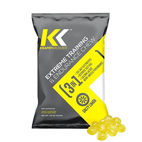 (Kramp Krusher: Vegan Energy Chews with Potassium Electrolytes | Caffeine Free Pre Workout Gummies for Leg Cramps, Sports, Running, and Fitness Training | On-The-Go Endurance Enhancers (Lemon12 Pack) )