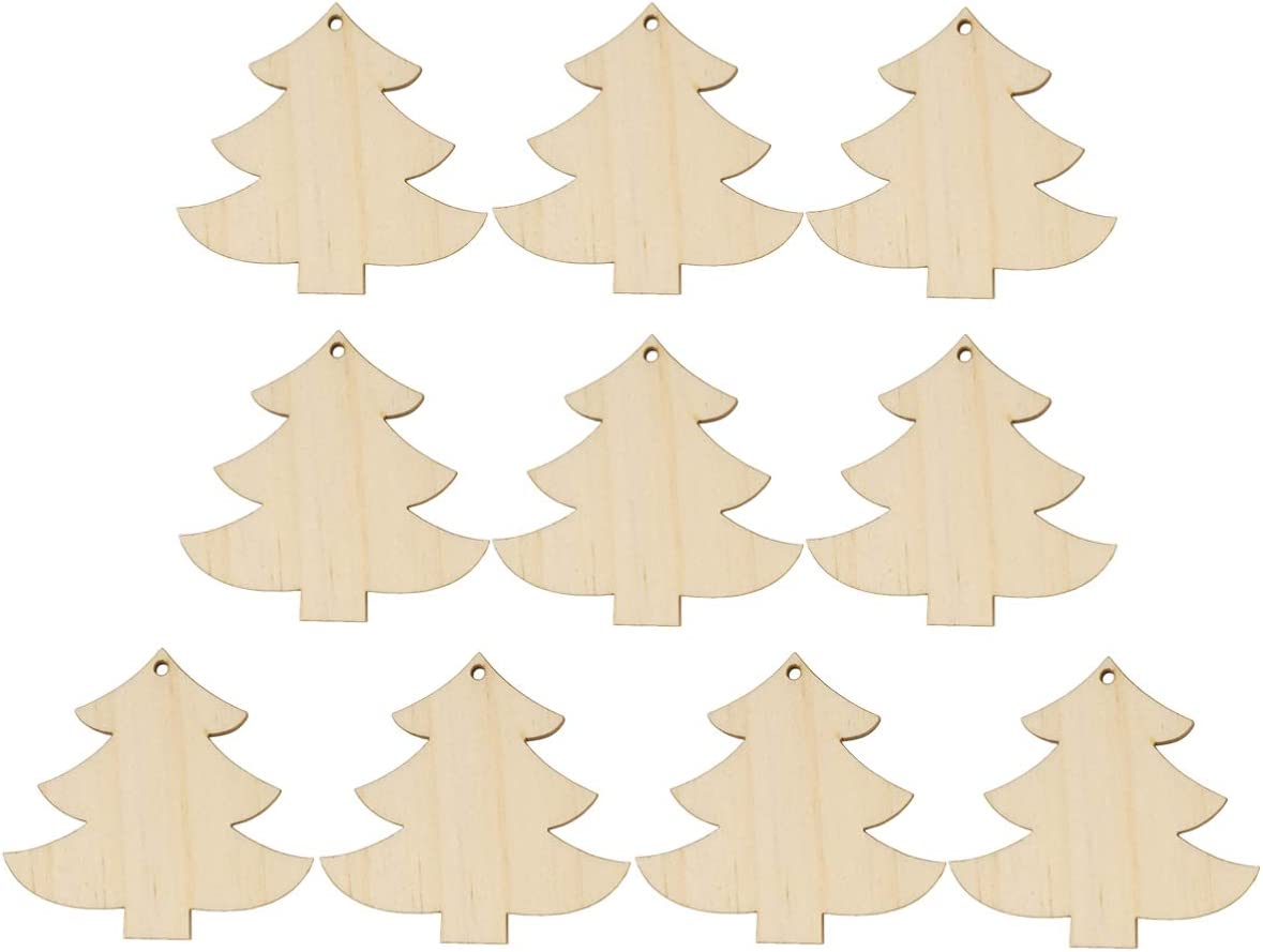 10 x CHRISTMAS TREE n8 UNPAINTED WOODEN SHAPES EMBELLISHMENTS HANGING CRAFT TAG