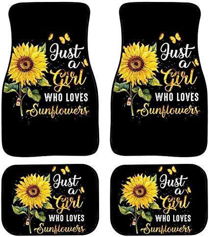 Xhuibop Love Sunflower Girl Floor Mats for Car Front & Rear Heavy Duty Rubber Soles Non-Skid Baking Floor Kick Pads Black