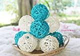 Conserve's Rattan Ball Thailand's Gifts : Natural Small Wicker Balls Two Tone Light Blue White DIY Vase Bowl Filler Ornament, Decorative Spheres Balls Perfect Decoration Party 2-2.5 inch 12 Pcs.