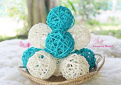 (Conserve's Rattan Ball Thailand's Gifts : Natural Small Wicker Balls Two Tone Light Blue White DIY Vase Bowl Filler Ornament, Decorative Spheres Balls Perfect Decoration Party 2-2.5 inch 12 Pcs.)