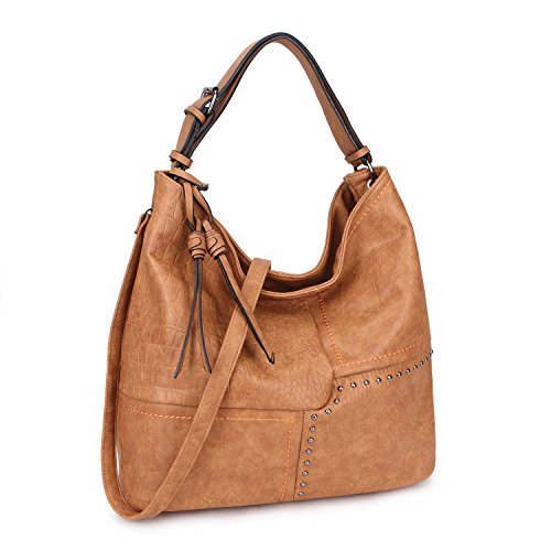 Womens Large Shoulder Bag Soft Fashion Hobo Bag 3 Tones Purse Handbag (Brown)