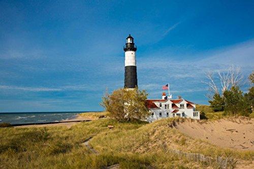 Lighthouse Art Photo (Big Sable Point Light Lighthouse Lake Michigan Photo Art Print Poster 36x24 inch)