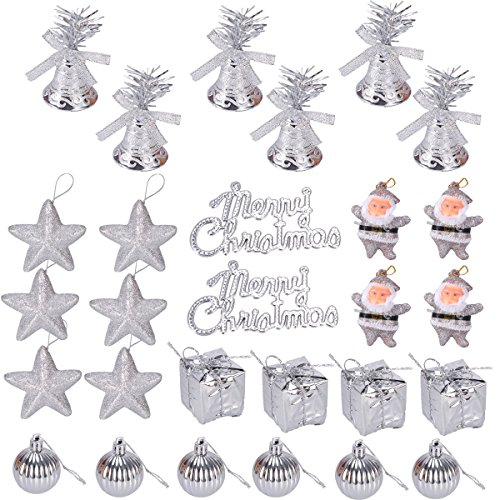 BESTOYARD Christmas Tree Ornaments Glitter Mini Jingle Bells Stars Balls Santa Gifts Boxes Merry Christmas Tag Hanging Decoration 28pcs (Silver) Mini Star Ornament
