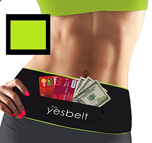 YesBelt #1 REVERSIBLE Running Belt and Waist Pack w ZIPPER Better than Cell Phone Sports Armband iPhone 6 Plus Best Travel Money Belt Stylish Fitness Zip 'n Flip Band for Workout