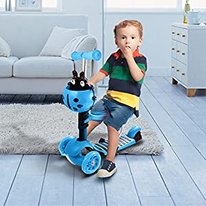 Flagup Kids Kick Scooter, 5-in-1 Toddler Kids 3 Wheel Mini Kick Scooter with Adjustable Height T-bar & Detachable Seat & LED Flashing Wheel, Best Gift for Boys Girls Age 1-6 (Blue)