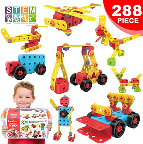 LUKAT STEM Learning Toys Creative Building Toys for 4 5 6 7 8+ Year Old Boys & Girls, Construction Engineering Educational Toy 288 Piece