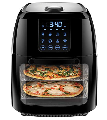 Chefman 6.3 Quart Digital Air Fryer+ Rotisserie, Dehydrator, Convection Oven, 8 Touch Screen Presets Fry, Roast, Dehydrate & Bake, BPA-Free, Auto Shutoff, Accessories Included, XL Family Size, Black (Oven Toaster Chefmate)