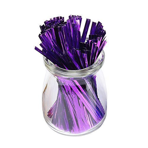 - Sago Brothers 200pcs 4 Inches Metallic Twist Ties (Purple)