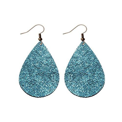 Fashion Women's or Girl's Teardrop Leather Earrings, Ten Colors Bronze Hook Earring For Mother's Day, Girlfriend,Wife ,Friend Best Gift (Bright (Blue Teardrop Earring)