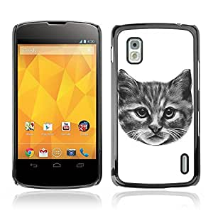 CASETOPIA / Kitty Cat / LG Google Nexus 4 E960 / Prima Delgada SLIM Casa Carcasa Funda Case Bandera Cover Armor Shell PC / Aliminium