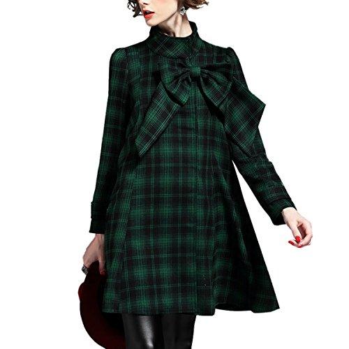 KAXIDY Mujer Parka Abrigo Medio-largo Stand-Cuello Trenca Capa Escudo Verde