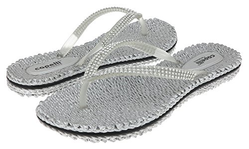 Capelli New York Transparent Thong with Rhinestones Trim Ladies Flip Flop Silver ()
