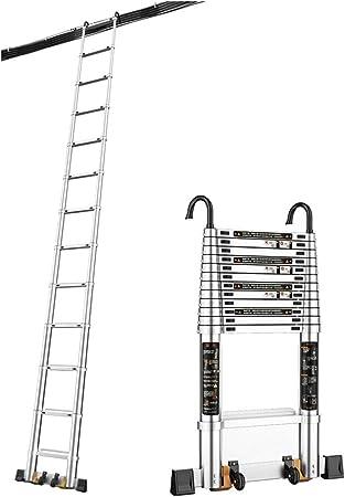 Escalera Telescópica, Escalera de extensión telescópica de Aluminio - Escalera de extensión Multiusos con Gancho Desmontable y Barra estabilizadora Inferior - Sugiere 330 Libras: Amazon.es: Hogar