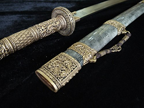 Chinese sword/Kangxi collection sword/Brass refined/pattern steel/Package skin scabbard/kungfu/Length 39""